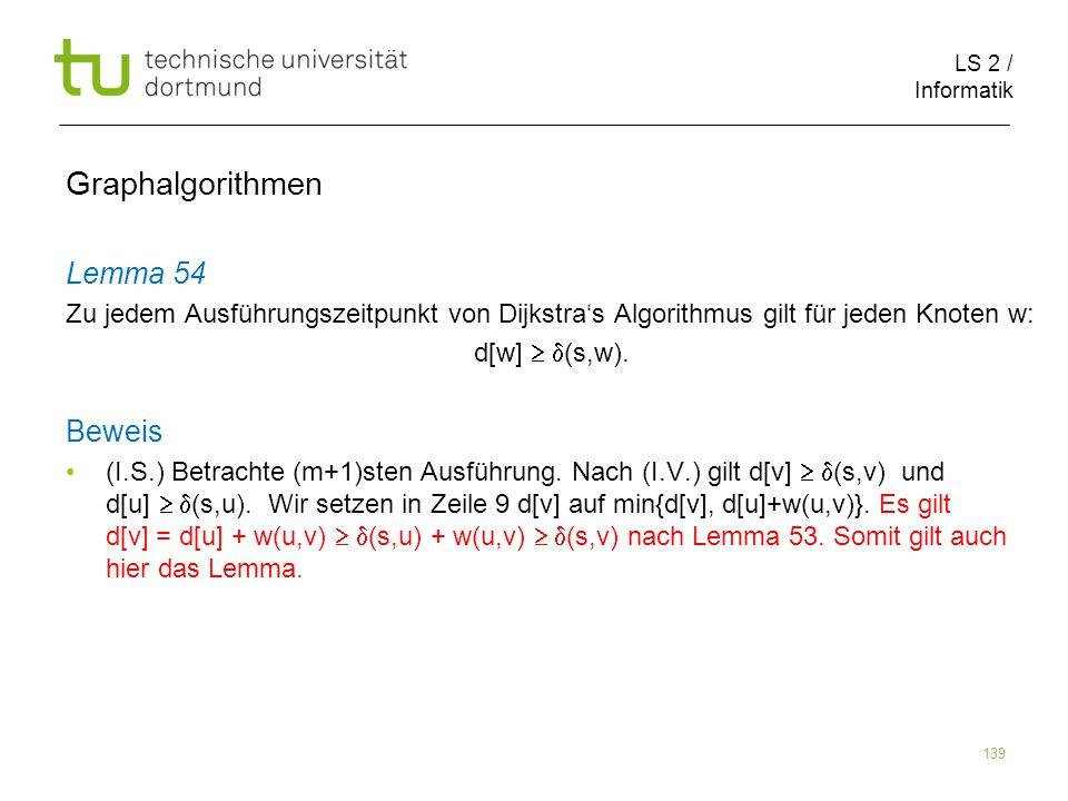 LS 2 / Informatik 139 Lemma 54 Zu jedem Ausführungszeitpunkt von Dijkstras Algorithmus gilt für jeden Knoten w: d[w] (s,w). Beweis (I.S.) Betrachte (m