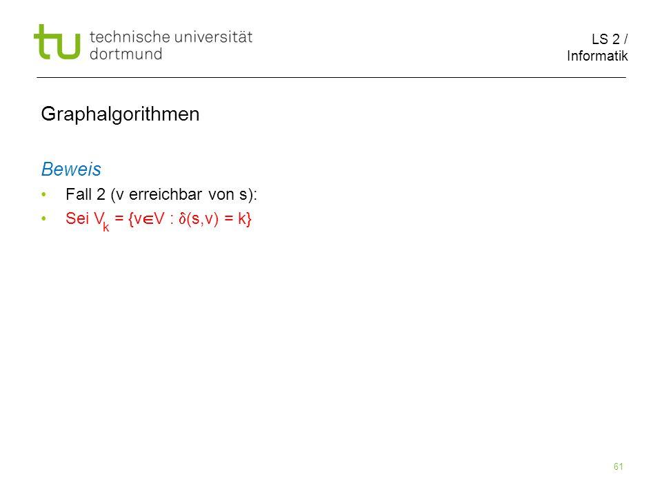 LS 2 / Informatik 61 Beweis Fall 2 (v erreichbar von s): Sei V = {v V : (s,v) = k} Graphalgorithmen k