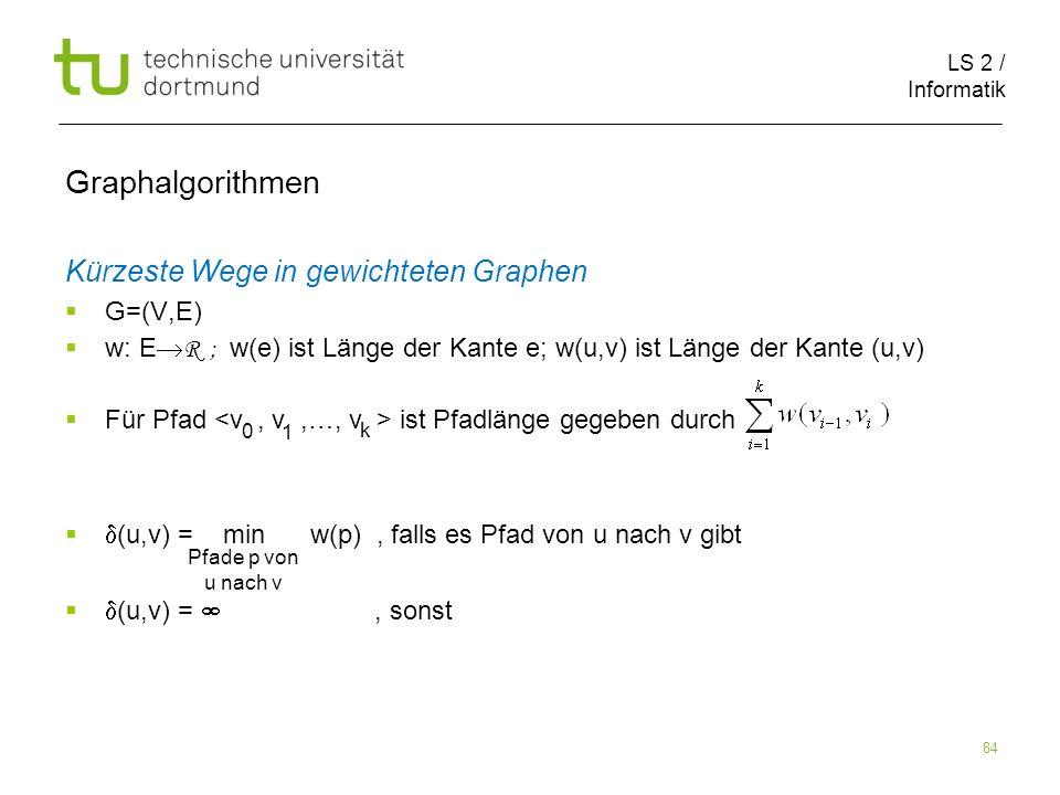 LS 2 / Informatik 84 Kürzeste Wege in gewichteten Graphen G=(V,E) w: E R ; w(e) ist Länge der Kante e; w(u,v) ist Länge der Kante (u,v) Für Pfad ist P