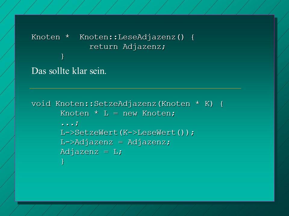 Knoten * Knoten::LeseAdjazenz() { return Adjazenz; } void Knoten::SetzeAdjazenz(Knoten * K) { Knoten * L = new Knoten;...;L->SetzeWert(K->LeseWert());
