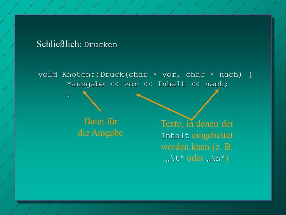 Drucken Schließlich: Drucken void Knoten::Druck(char * vor, char * nach) { *ausgabe << vor << Inhalt << nach; } Datei für die Ausgabe Texte, in denen
