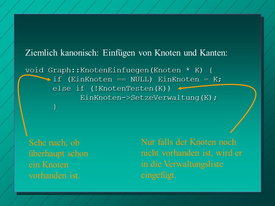 void Graph::KnotenEinfuegen(Knoten * K) { if (EinKnoten == NULL) EinKnoten = K; else if (!KnotenTesten(K)) EinKnoten->SetzeVerwaltung(K);} Ziemlich ka
