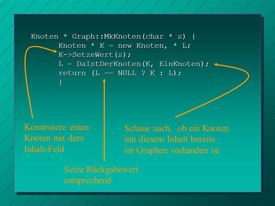 Knoten * Graph::MkKnoten(char * s) { Knoten * K = new Knoten, * L; K->SetzeWert(s); L = DaIstDerKnoten(K, EinKnoten); return (L == NULL ? K : L); } Ko