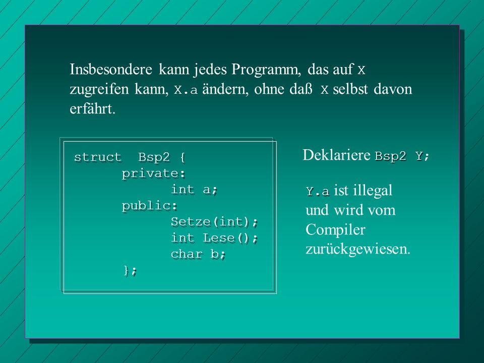 struct Bsp2 { private: int a; public: void Setze(int); int Lese(); char b; }; void Bsp2::Setze(int x) { a = x; } int Bsp2::Lese() { return a; } struct Bsp2 { private: int a; public: void Setze(int); int Lese(); char b; }; void Bsp2::Setze(int x) { a = x; } int Bsp2::Lese() { return a; } Bsp2 Y sei deklariert.