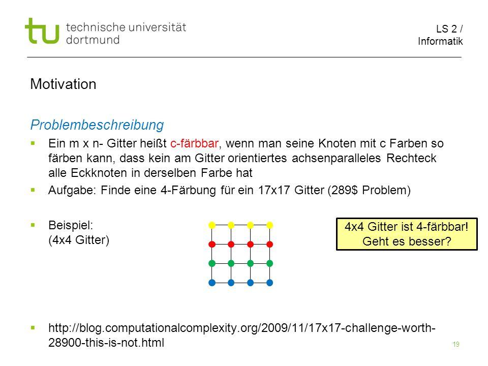 LS 2 / Informatik 19 Motivation Problembeschreibung Ein m x n- Gitter heißt c-färbbar, wenn man seine Knoten mit c Farben so färben kann, dass kein am Gitter orientiertes achsenparalleles Rechteck alle Eckknoten in derselben Farbe hat Aufgabe: Finde eine 4-Färbung für ein 17x17 Gitter (289$ Problem) Beispiel: (4x4 Gitter) http://blog.computationalcomplexity.org/2009/11/17x17-challenge-worth- 28900-this-is-not.html 4x4 Gitter ist 4-färbbar.