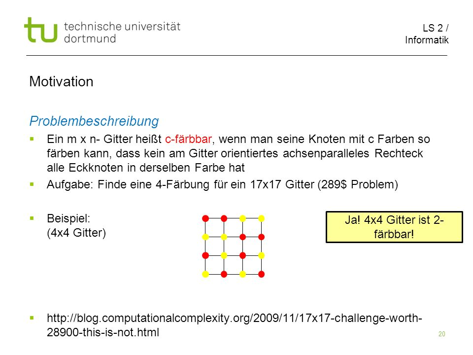 LS 2 / Informatik 20 Motivation Problembeschreibung Ein m x n- Gitter heißt c-färbbar, wenn man seine Knoten mit c Farben so färben kann, dass kein am Gitter orientiertes achsenparalleles Rechteck alle Eckknoten in derselben Farbe hat Aufgabe: Finde eine 4-Färbung für ein 17x17 Gitter (289$ Problem) Beispiel: (4x4 Gitter) http://blog.computationalcomplexity.org/2009/11/17x17-challenge-worth- 28900-this-is-not.html Ja.