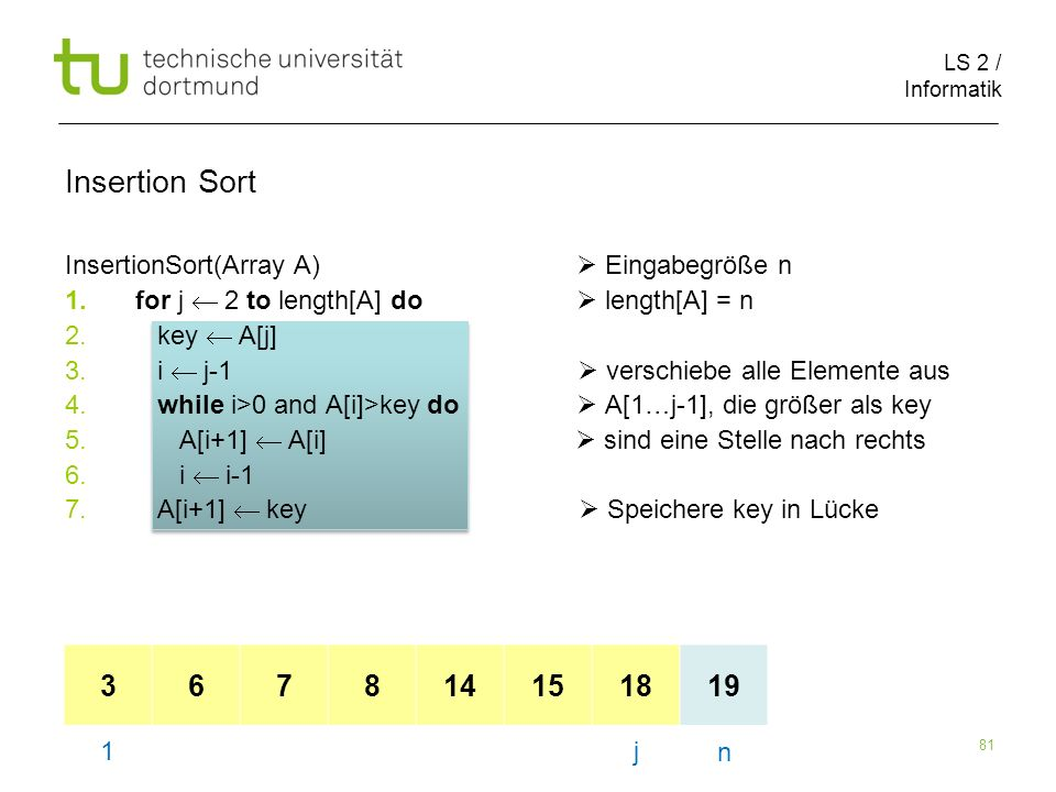 LS 2 / Informatik 81 InsertionSort(Array A) Eingabegröße n 1.for j 2 to length[A] do length[A] = n 2.