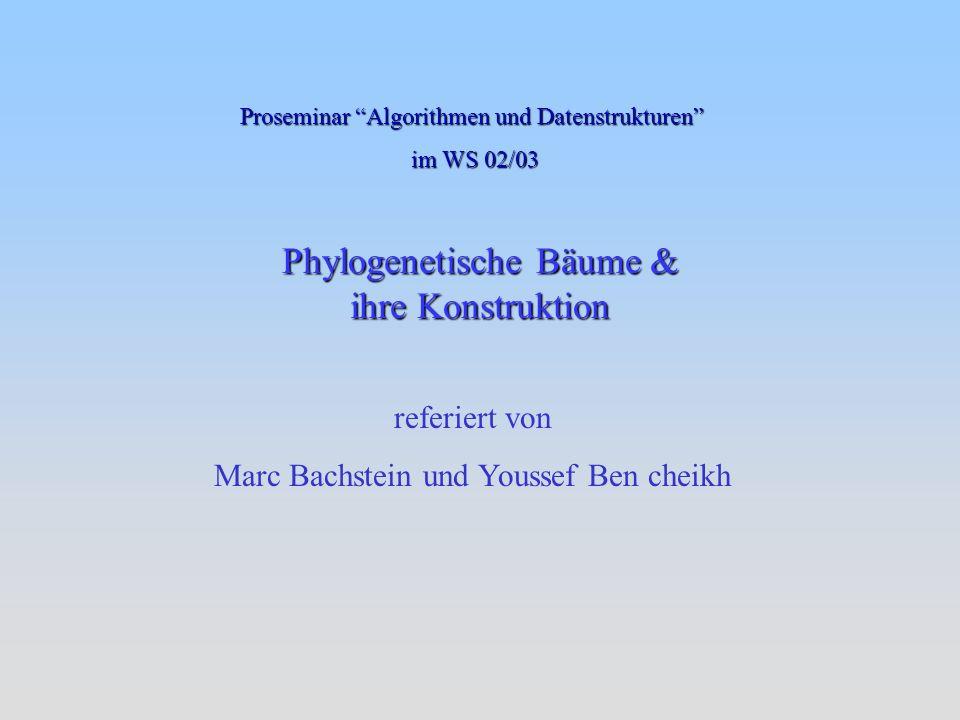 Phylogenetische Bäume & ihre Konstruktion referiert von Marc Bachstein und Youssef Ben cheikh Proseminar Algorithmen und Datenstrukturen im WS 02/03 im WS 02/03