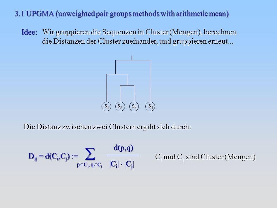 3.1 UPGMA (unweighted pair groups methods with arithmetic mean) Idee: Wir gruppieren die Sequenzen in Cluster (Mengen), berechnen die Distanzen der Cluster zueinander, und gruppieren erneut...