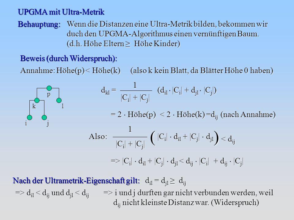 UPGMA mit Ultra-Metrik Behauptung: Wenn die Distanzen eine Ultra-Metrik bilden, bekommen wir duch den UPGMA-Algorithmus einen vernünftigen Baum.