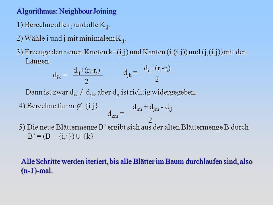 Algorithmus: Neighbour Joining 1) Berechne alle r i und alle K ij.