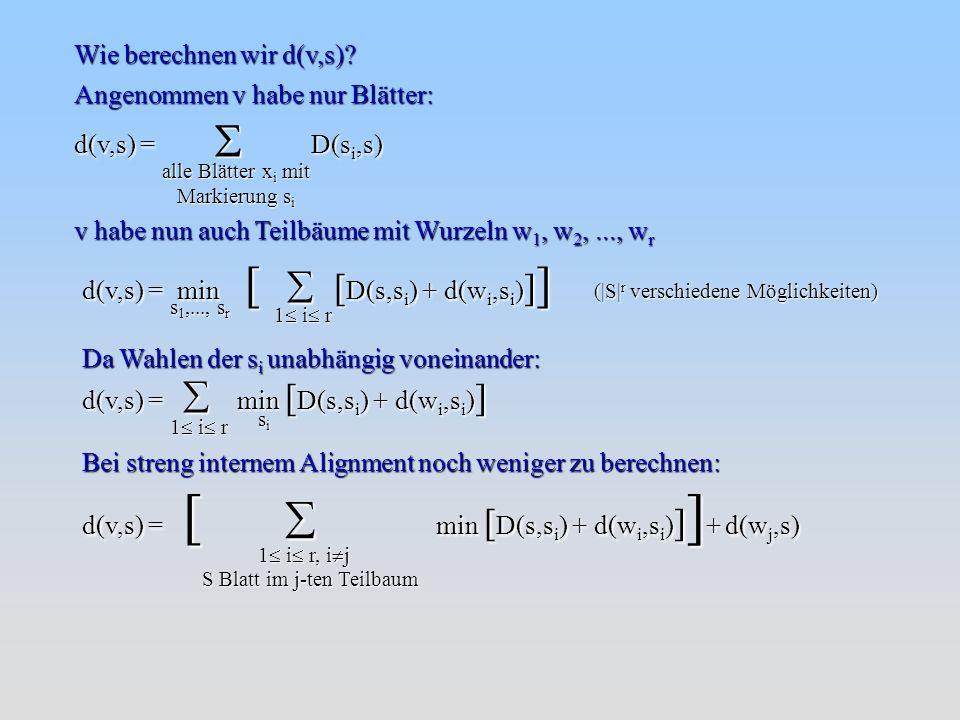 Beispiel: A: ATCGAATACAGATTCGGT B: AACGAATACAGATTCGGT C: ACCGTATGCAGCTTCGGT D: AGTGCATCCAGTTTCAGT E: AGAGCATCCAGTTTCCGT Wir haben 5 unterschiedliche Sequenzen: -1466 -466 -66 -2 - ABCDE AB C D E Bestimmen des Minimus: d(A,B) = 1 => neues Cluster = {{A},{B}} Berechnung der Kantenlänge bis zum Knoten: => d(A,B)/2 = 0,5 A B C D E 0,5 Distanzmatrix M