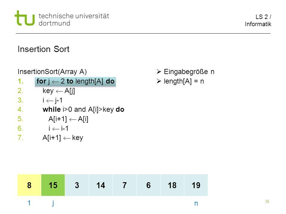 LS 2 / Informatik 36 InsertionSort(Array A) Eingabegröße n 1.for j 2 to length[A] do length[A] = n 2.
