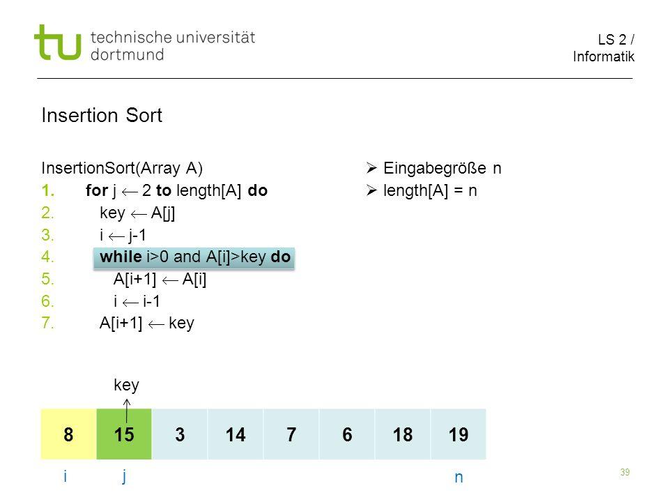 LS 2 / Informatik 39 InsertionSort(Array A) Eingabegröße n 1.for j 2 to length[A] do length[A] = n 2.