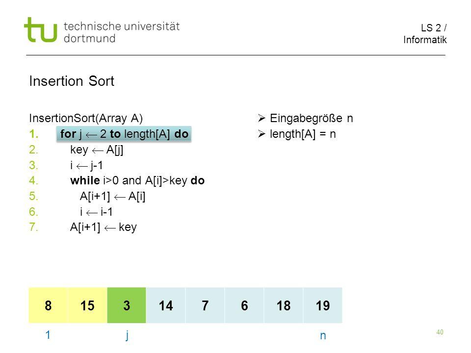 LS 2 / Informatik 40 InsertionSort(Array A) Eingabegröße n 1.for j 2 to length[A] do length[A] = n 2.