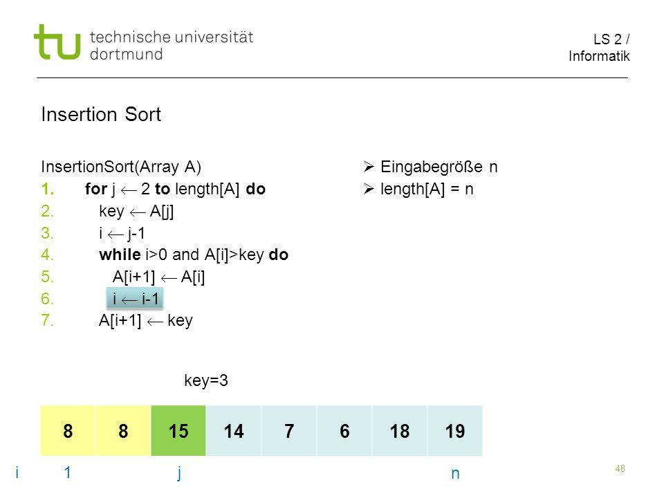 LS 2 / Informatik 48 InsertionSort(Array A) Eingabegröße n 1.for j 2 to length[A] do length[A] = n 2.