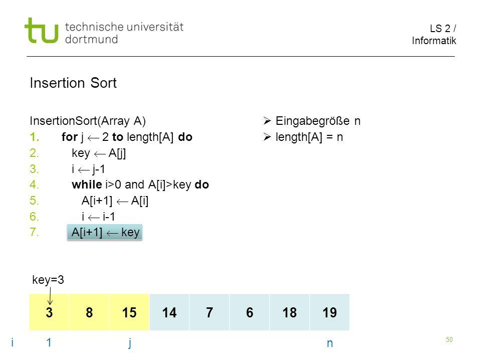 LS 2 / Informatik 50 InsertionSort(Array A) Eingabegröße n 1.for j 2 to length[A] do length[A] = n 2.