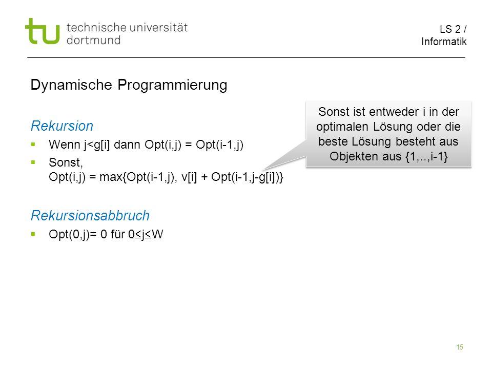 LS 2 / Informatik 15 Dynamische Programmierung Rekursion Wenn j<g[i] dann Opt(i,j) = Opt(i-1,j) Sonst, Opt(i,j) = max{Opt(i-1,j), v[i] + Opt(i-1,j-g[i])} Rekursionsabbruch Opt(0,j)= 0 für 0 j W Sonst ist entweder i in der optimalen Lösung oder die beste Lösung besteht aus Objekten aus {1,..,i-1}