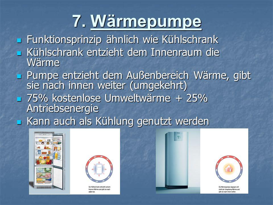 7. Wärmepumpe Funktionsprinzip ähnlich wie Kühlschrank Funktionsprinzip ähnlich wie Kühlschrank Kühlschrank entzieht dem Innenraum die Wärme Kühlschra
