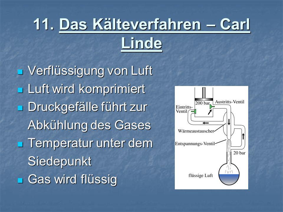 11. Das Kälteverfahren – Carl Linde Verflüssigung von Luft Verflüssigung von Luft Luft wird komprimiert Luft wird komprimiert Druckgefälle führt zur D