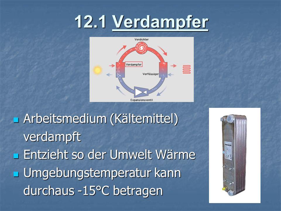 12.1 Verdampfer Arbeitsmedium (Kältemittel) Arbeitsmedium (Kältemittel)verdampft Entzieht so der Umwelt Wärme Entzieht so der Umwelt Wärme Umgebungste