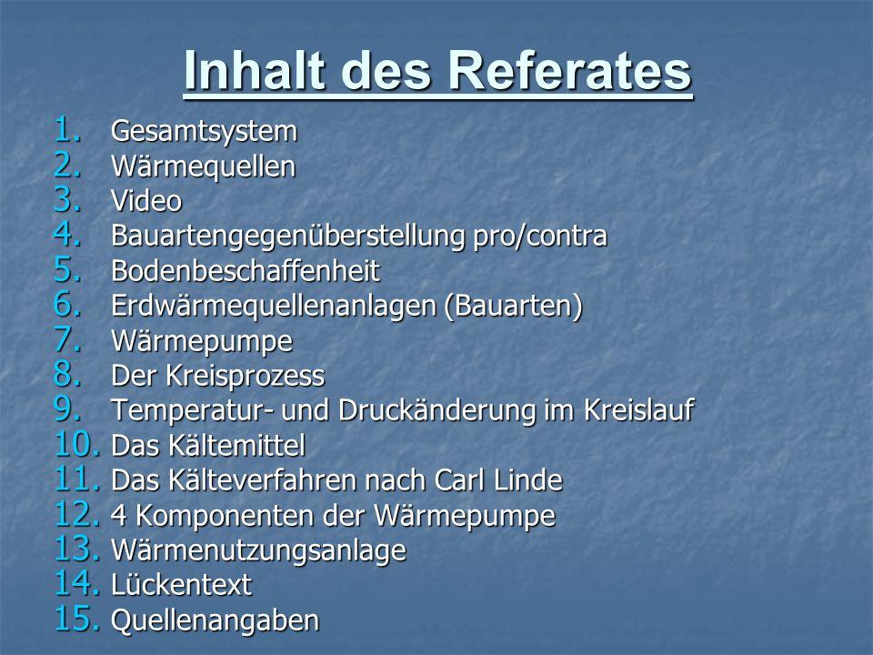 Inhalt des Referates 1. Gesamtsystem 2. Wärmequellen 3. Video 4. Bauartengegenüberstellung pro/contra 5. Bodenbeschaffenheit 6. Erdwärmequellenanlagen