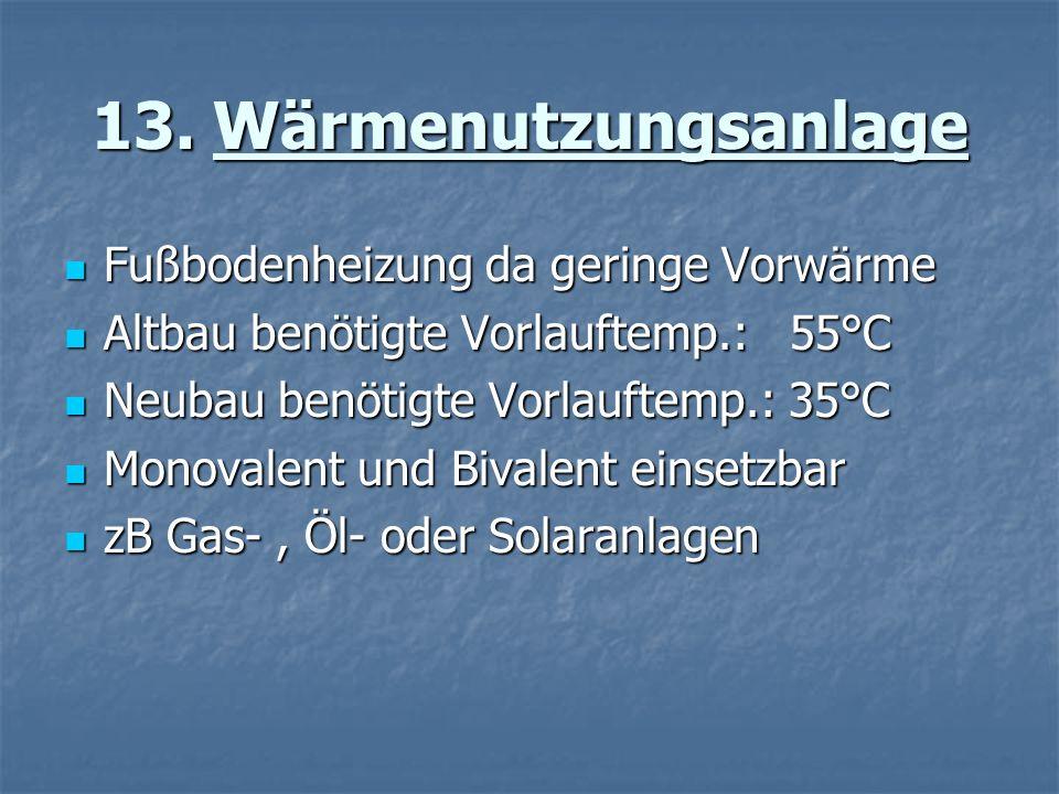 13. Wärmenutzungsanlage Fußbodenheizung da geringe Vorwärme Fußbodenheizung da geringe Vorwärme Altbau benötigte Vorlauftemp.: 55°C Altbau benötigte V