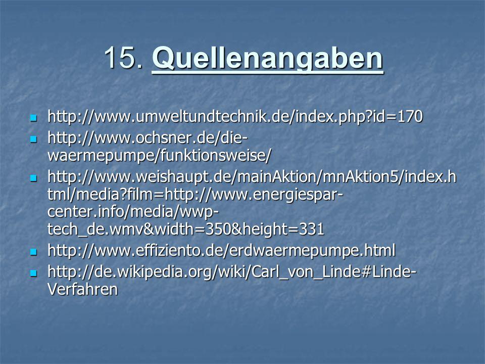 15. Quellenangaben http://www.umweltundtechnik.de/index.php?id=170 http://www.umweltundtechnik.de/index.php?id=170 http://www.ochsner.de/die- waermepu