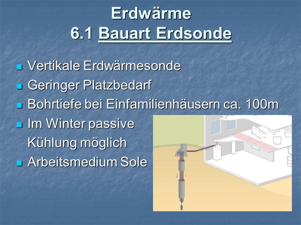 Erdwärme 6.2 Bauart Erdkollektor Waagerechtes großflächiges Rohrsystem Waagerechtes großflächiges Rohrsystem Verlegung unterhalb der Frostgrenze 1-1.5m Verlegung unterhalb der Frostgrenze 1-1.5m 200-250m² Kollektorenfläche für Einfamilienhaus 200-250m² Kollektorenfläche für Einfamilienhaus Fläche kann nicht Fläche kann nicht bebaut werden, da der Boden Regen und Sonnenstrahlen aufnehmen muss