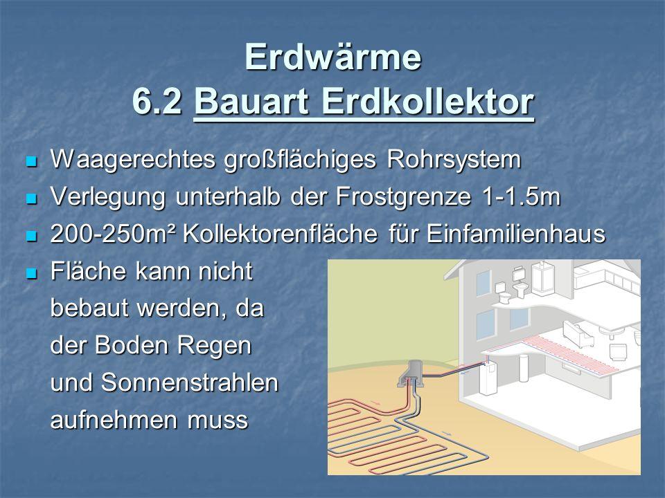 Erdwärme 6.2 Bauart Erdkollektor Waagerechtes großflächiges Rohrsystem Waagerechtes großflächiges Rohrsystem Verlegung unterhalb der Frostgrenze 1-1.5