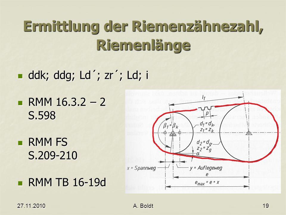 27.11.2010A. Boldt19 Ermittlung der Riemenzähnezahl, Riemenlänge ddk; ddg; Ld´; zr´; Ld; i ddk; ddg; Ld´; zr´; Ld; i RMM 16.3.2 – 2 RMM 16.3.2 – 2S.59