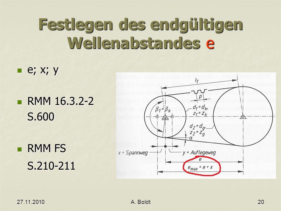 27.11.2010A. Boldt20 Festlegen des endgültigen Wellenabstandes e e; x; y e; x; y RMM 16.3.2-2 RMM 16.3.2-2S.600 RMM FS RMM FSS.210-211