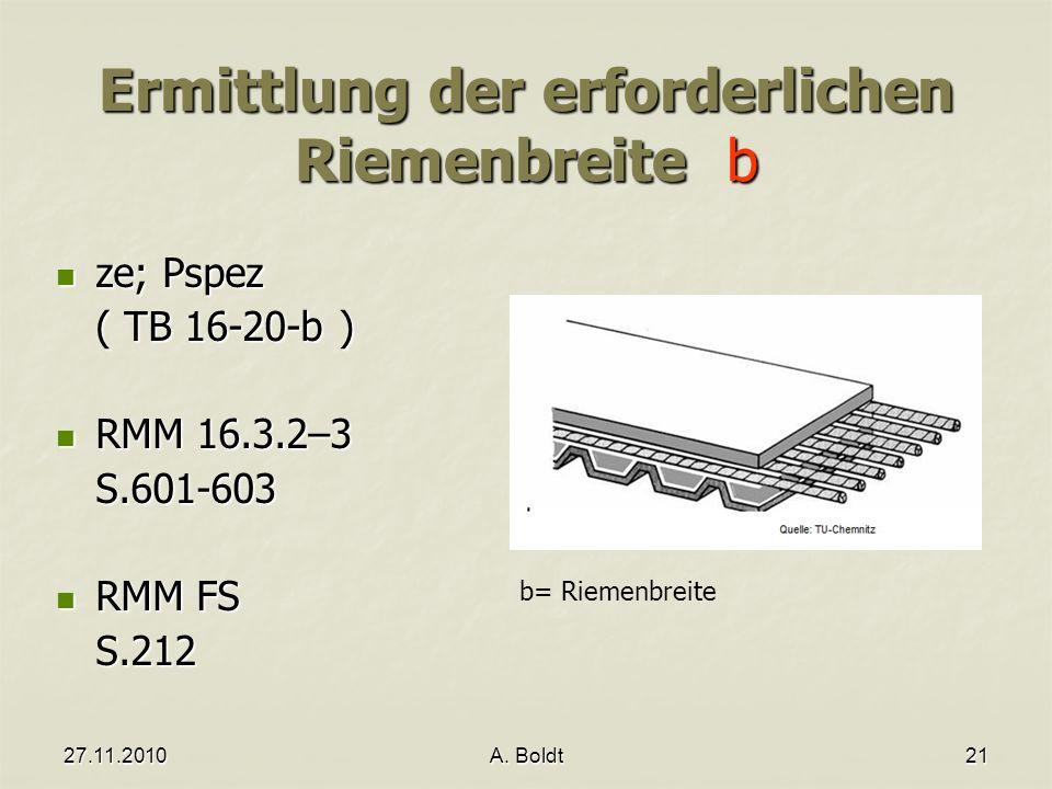 27.11.2010A. Boldt21 Ermittlung der erforderlichen Riemenbreite b ze; Pspez ze; Pspez ( TB 16-20-b ) RMM 16.3.2–3 RMM 16.3.2–3S.601-603 RMM FS RMM FSS