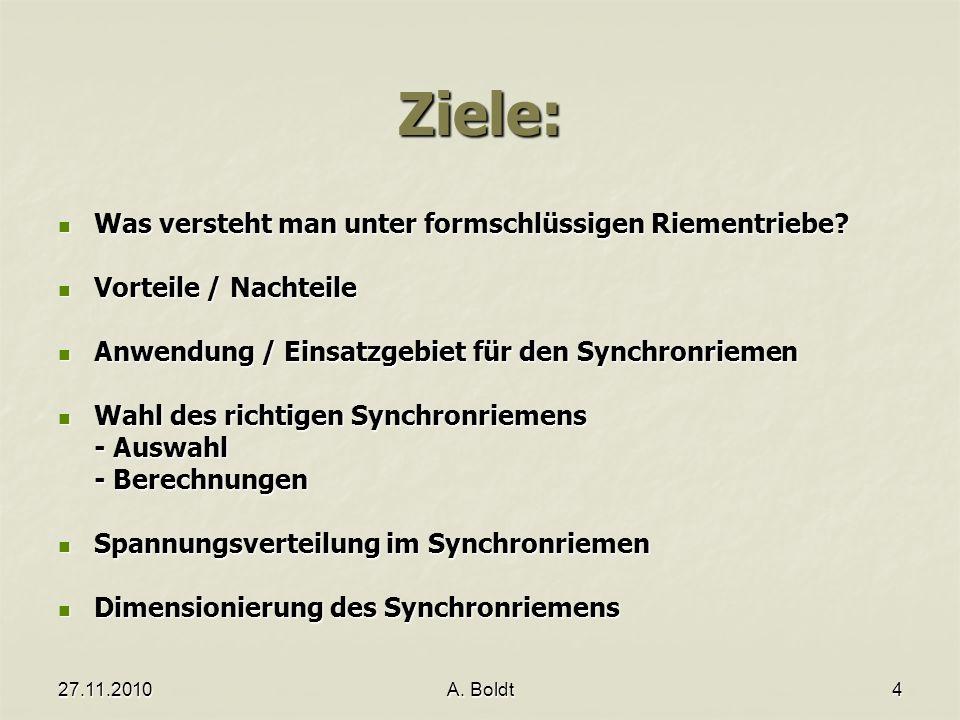 27.11.2010A.Boldt4 Ziele: Was versteht man unter formschlüssigen Riementriebe.