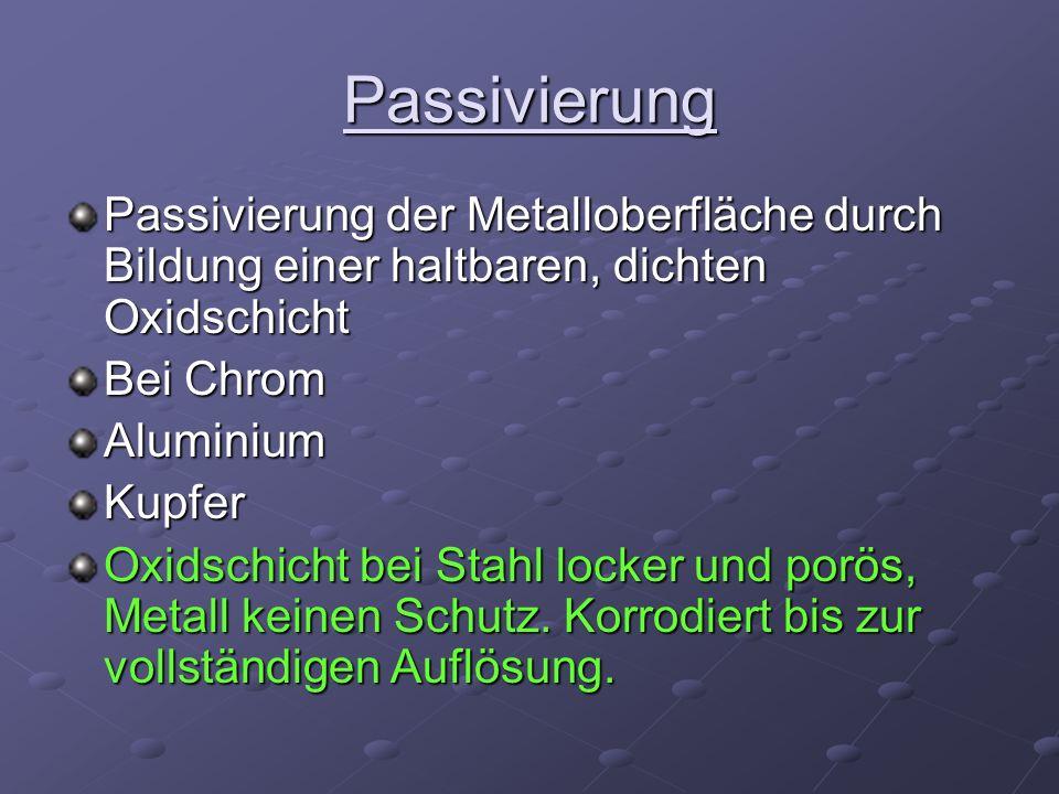 Passivierung Passivierung der Metalloberfläche durch Bildung einer haltbaren, dichten Oxidschicht Bei Chrom AluminiumKupfer Oxidschicht bei Stahl lock