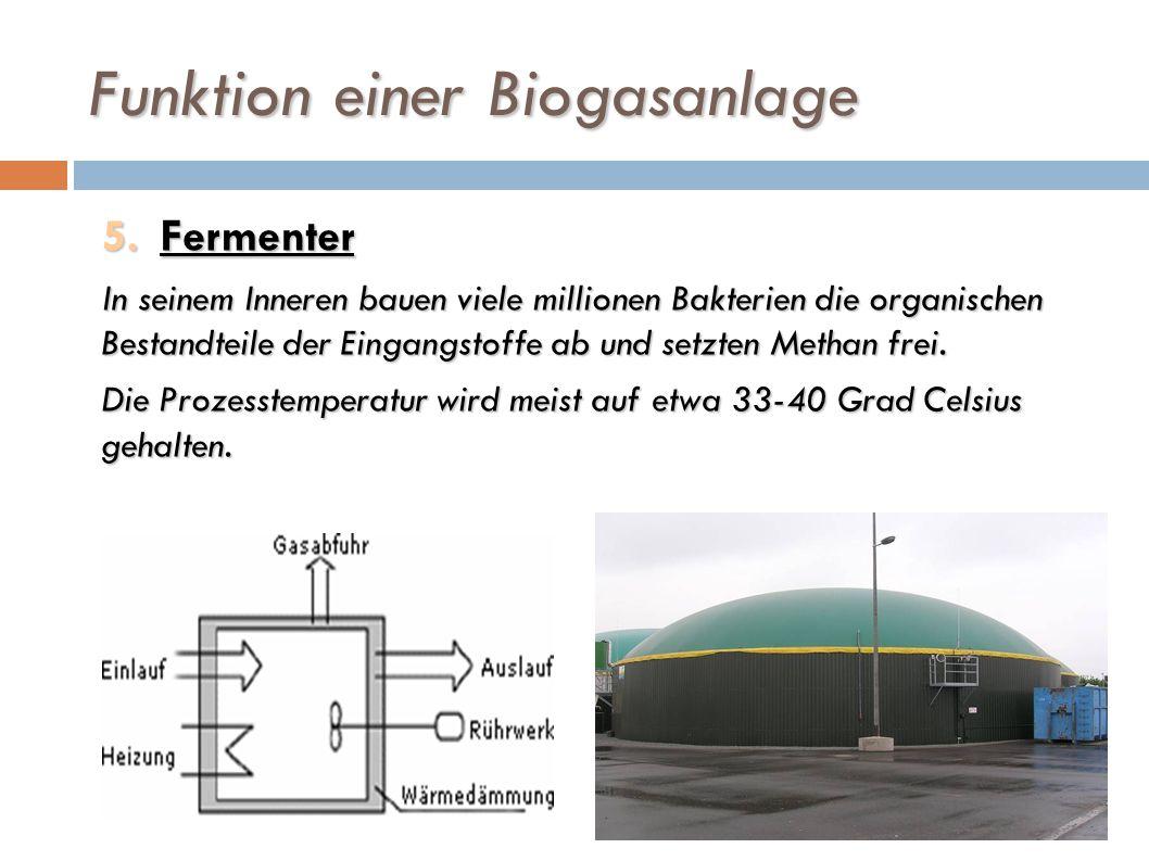 Funktion einer Biogasanlage 5.Fermenter In seinem Inneren bauen viele millionen Bakterien die organischen Bestandteile der Eingangstoffe ab und setzte