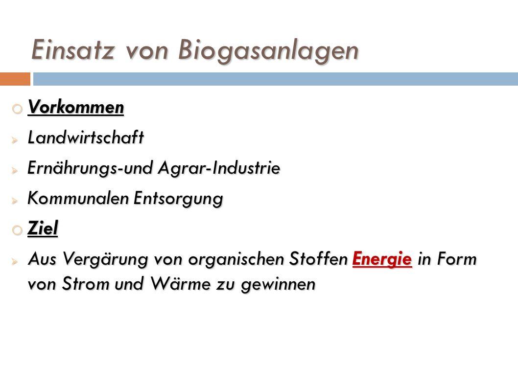 Einsatz von Biogasanlagen o Vorkommen Landwirtschaft Landwirtschaft Ernährungs-und Agrar-Industrie Ernährungs-und Agrar-Industrie Kommunalen Entsorgun