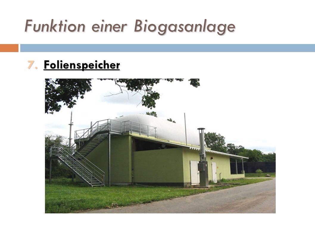 Funktion einer Biogasanlage 7.Folienspeicher