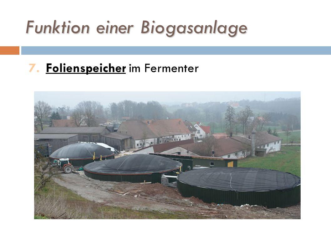 Funktion einer Biogasanlage 7.Folienspeicher im Fermenter
