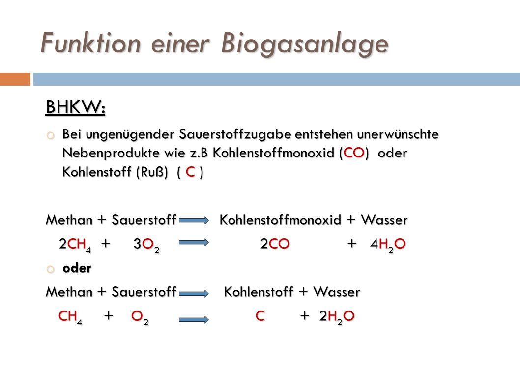 Funktion einer Biogasanlage BHKW: o Bei ungenügender Sauerstoffzugabe entstehen unerwünschte Nebenprodukte wie z.B Kohlenstoffmonoxid (CO) oder Kohlen