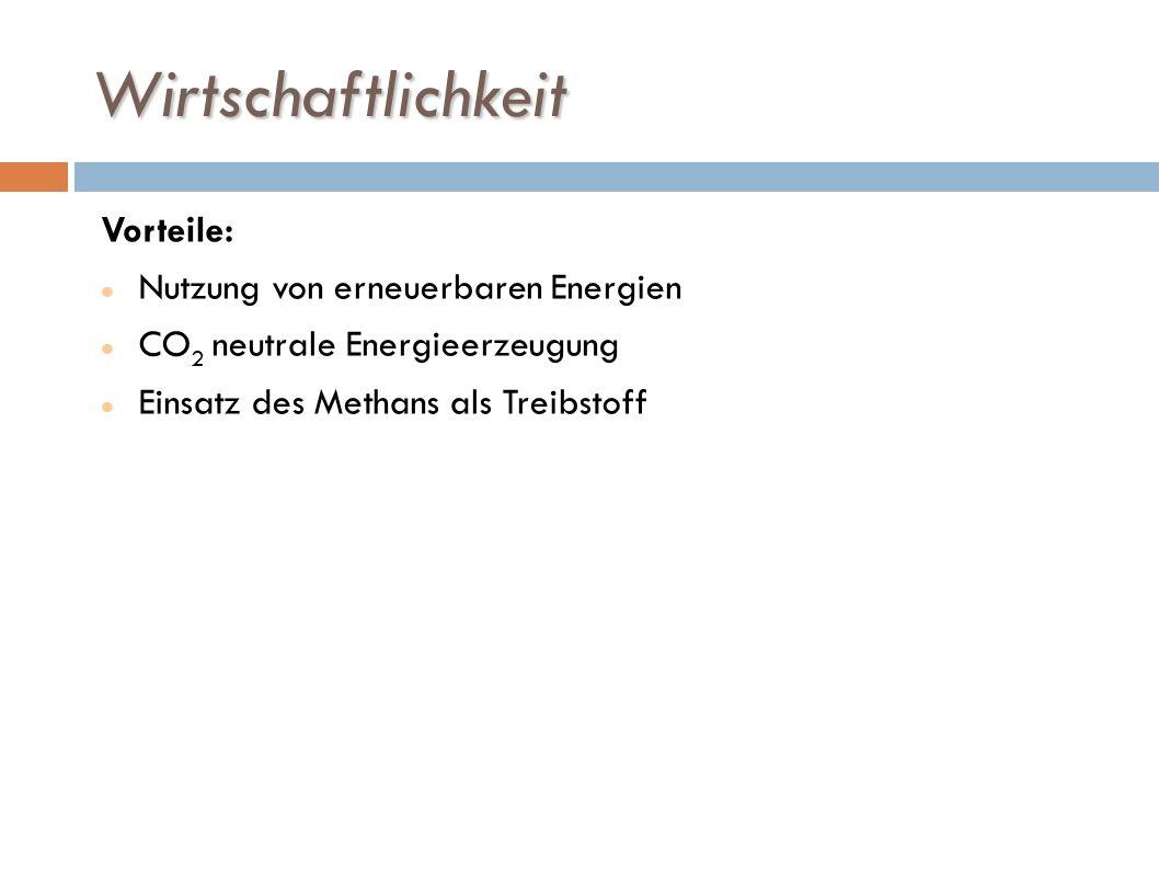 Wirtschaftlichkeit Vorteile: Nutzung von erneuerbaren Energien CO 2 neutrale Energieerzeugung Einsatz des Methans als Treibstoff