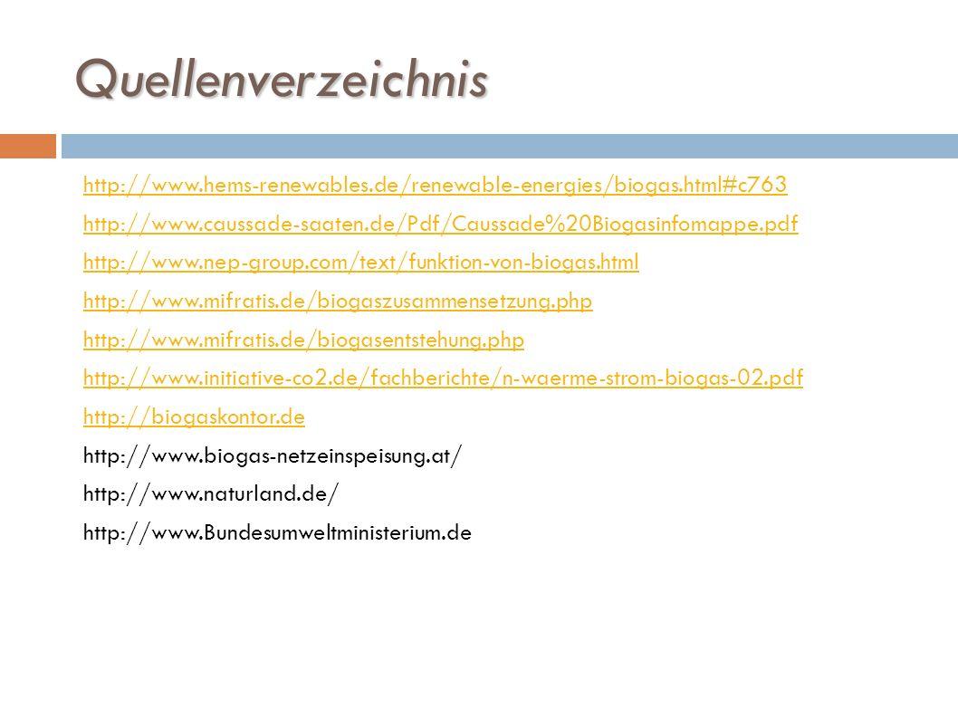 Quellenverzeichnis http://www.hems-renewables.de/renewable-energies/biogas.html#c763 http://www.caussade-saaten.de/Pdf/Caussade%20Biogasinfomappe.pdf