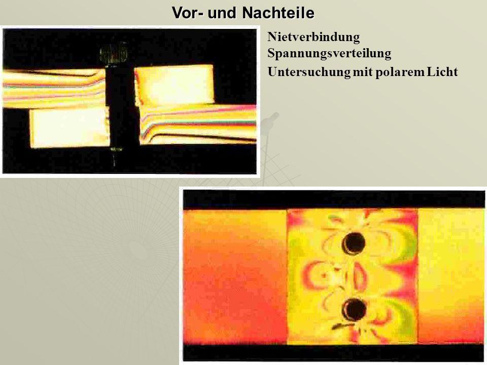 Nietverbindung Spannungsverteilung Untersuchung mit polarem Licht Vor- und Nachteile
