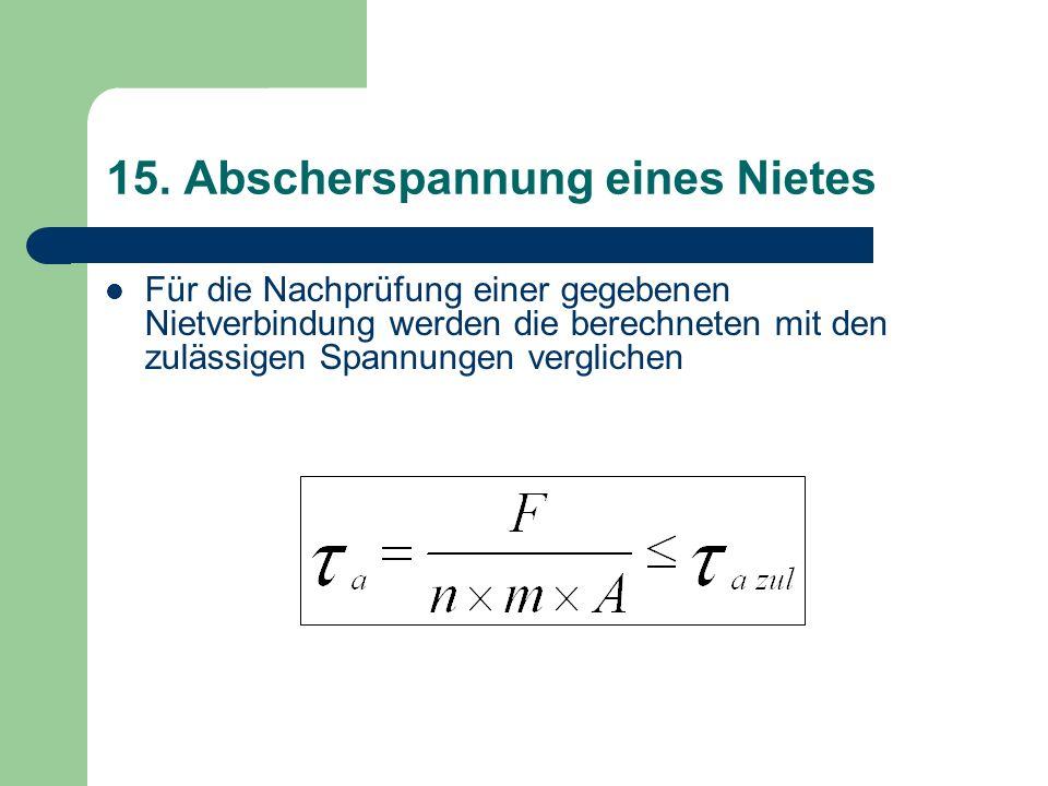 15. Abscherspannung eines Nietes Für die Nachprüfung einer gegebenen Nietverbindung werden die berechneten mit den zulässigen Spannungen verglichen