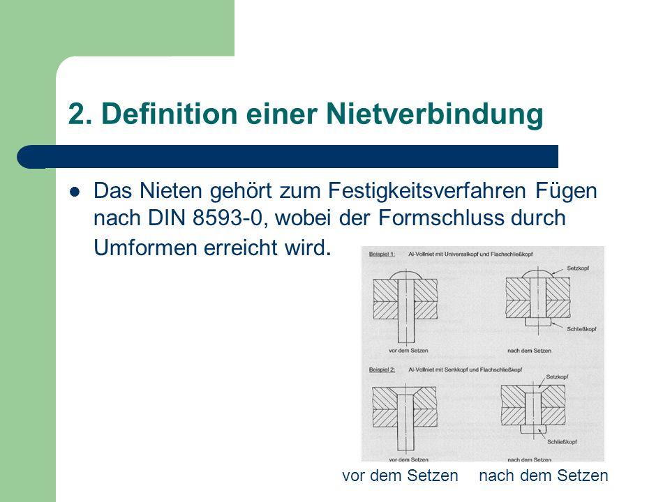 2. Definition einer Nietverbindung Das Nieten gehört zum Festigkeitsverfahren Fügen nach DIN 8593-0, wobei der Formschluss durch Umformen erreicht wir