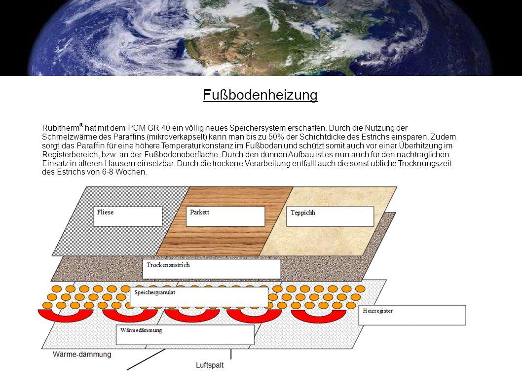 Fußbodenheizung Rubitherm ® hat mit dem PCM GR 40 ein völlig neues Speichersystem erschaffen. Durch die Nutzung der Schmelzwärme des Paraffins (mikrov