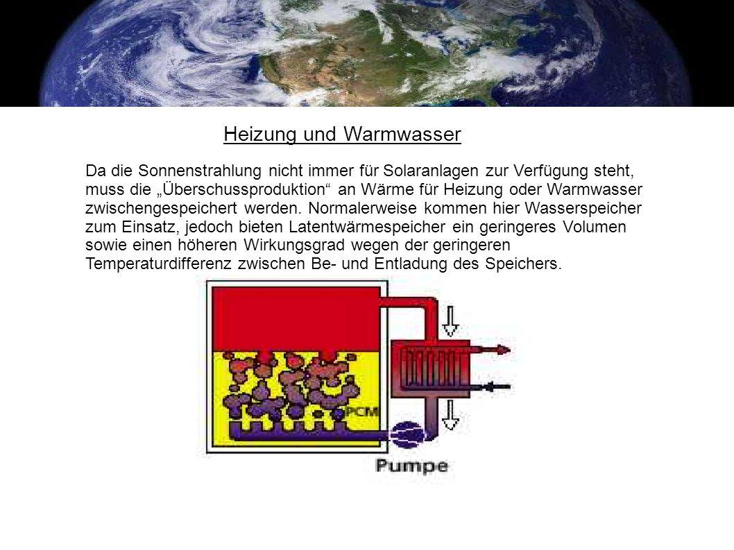 Heizung und Warmwasser Da die Sonnenstrahlung nicht immer für Solaranlagen zur Verfügung steht, muss die Überschussproduktion an Wärme für Heizung ode