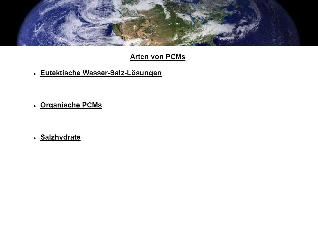 Arten von PCMs Eutektische Wasser-Salz-Lösungen Organische PCMs Salzhydrate