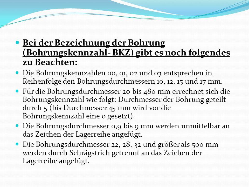 Bei der Bezeichnung der Bohrung (Bohrungskennzahl- BKZ) gibt es noch folgendes zu Beachten: Die Bohrungskennzahlen 00, 01, 02 und 03 entsprechen in Re