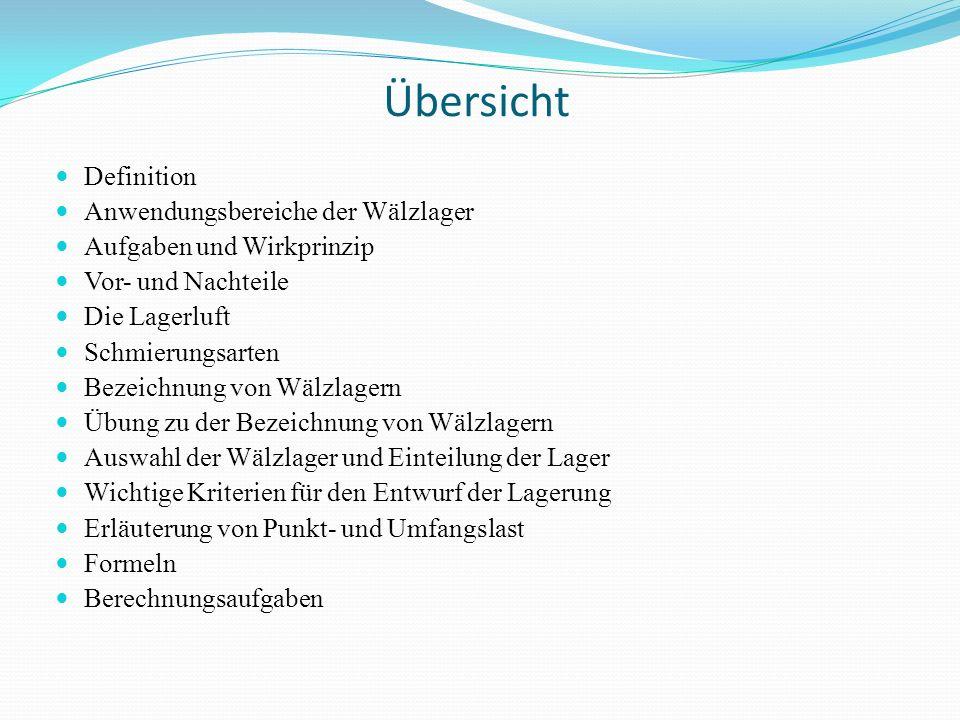 Übersicht Definition Anwendungsbereiche der Wälzlager Aufgaben und Wirkprinzip Vor- und Nachteile Die Lagerluft Schmierungsarten Bezeichnung von Wälzl